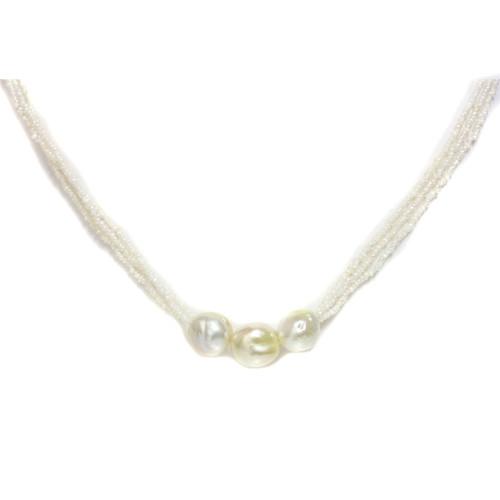 Akoya Keshi & Three Baroque South Sea  Pearl Necklace AAA-