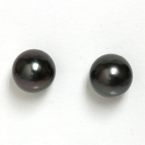 Tahitian Pearl Stud Earrings 9 MM Midnight Black AAA Flawless