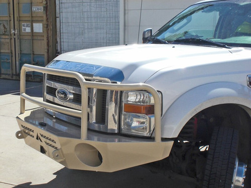 Quarter view of silver Aluminess Front Winch Bumper - Ford F-250/F-350 '08-'10