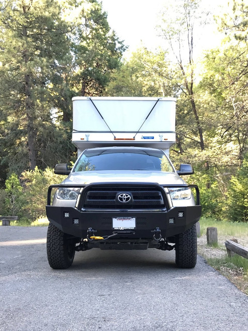 Aluminess Front Winch Bumper - Toyota Tundra '07 to '13 front view with pop-top camper