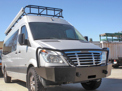 Aluminess Front Winch Bumper - Mercedes Sprinter '07 to '13 low front view with Aluminess roof rack