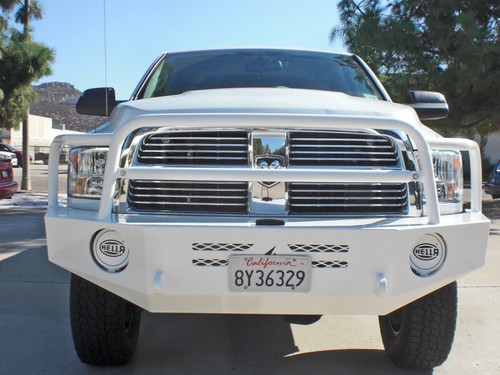 White Aluminess Front Winch Bumper - Dodge Ram '10 to '18 front view