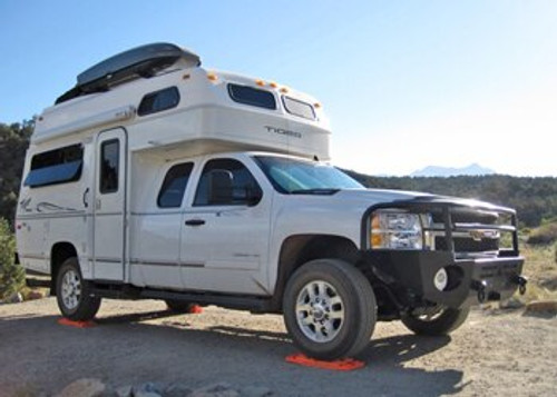 Aluminess Front Winch Bumper - Chevy Silverado (2500/3500) '11 to '14 with truck camper quarter view