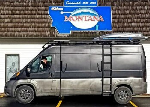 Aluminess surf pole and side ladder on a Dodge Promaster Camper Van