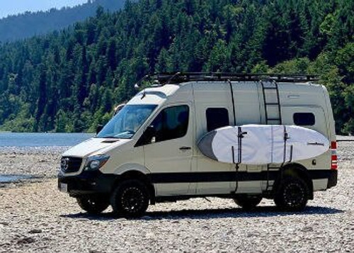 Mercedes Sprinter with surfboards carried on the side with Aluminess surf poles