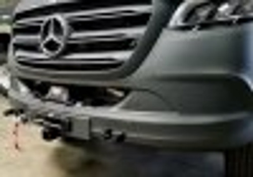 Aluminess Front Receiver and Hidden Winch Mount - Mercedes Sprinter '19 & Up (exc. 3500 Dually) closeup