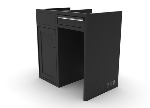 "Vanwife Aluminum 36"" Five Panel Galley Cabinet with Finger-Slam Drawers in Black"