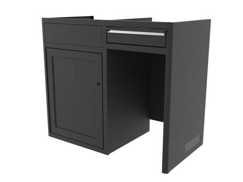 """42"""" Galley Cabinet w/ Five-Panel Door & Finger-Slam Drawers in Black"""