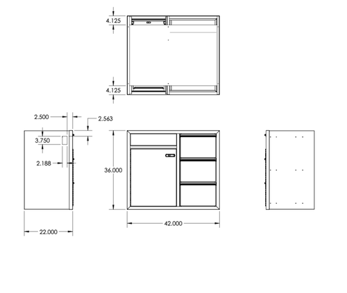 "42"" Galley Cabinet w/Door & Finger-Slam Drawers line drawing with dimensions"