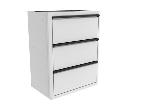 "Van Wife Components 28"" Base Cabinet with Three Finger-Slam Drawers in white finish"