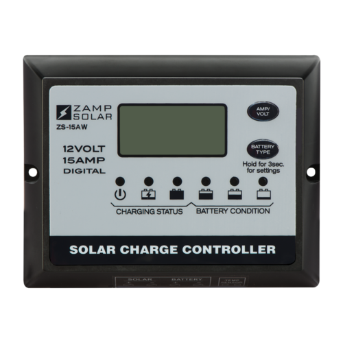 Zamp Solar 15 Amp 5-Stage PWM Solar Charge Controller Front View
