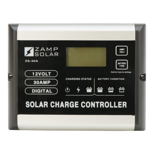 Zamp Solar 30 Amp Dual Battery Bank 5-Stage PWM Solar Charge Controller Front View