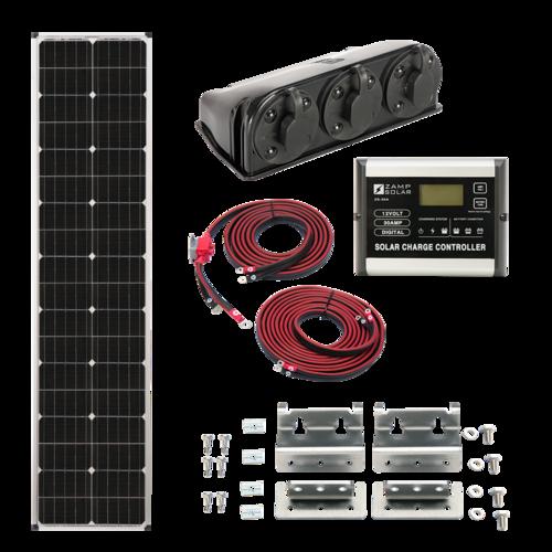 Zamp Solar 90-Watt Slender Roof Mount Solar Kit Complete Contents