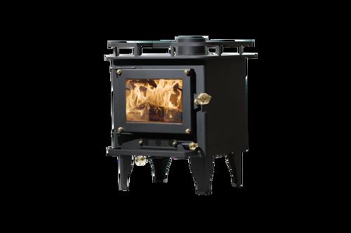 "CB-1210 ""Grizzly"" Cubic Mini Wood Stove for Vans* quarter view black"