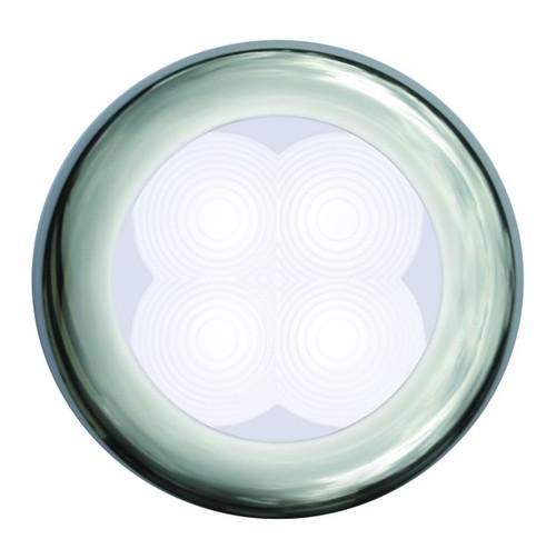 12V/24V 9805R Slimline Series Round LED Courtesy Lamp White Led Silver Trim