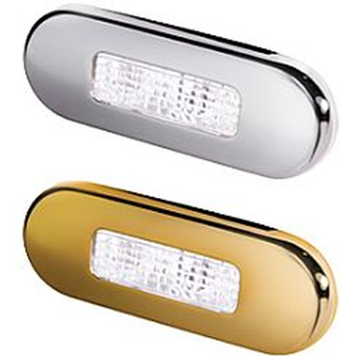 Hella 9680 Series Step Lamp, Two LED, Metal Bezel in chrome and gold
