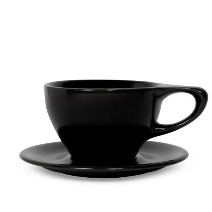 Lino 12oz Large Latte Cup & Saucer - Black