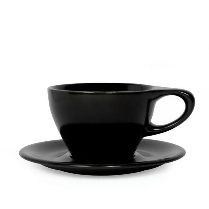 Lino 8oz Small Latte Cup & Saucer - Black