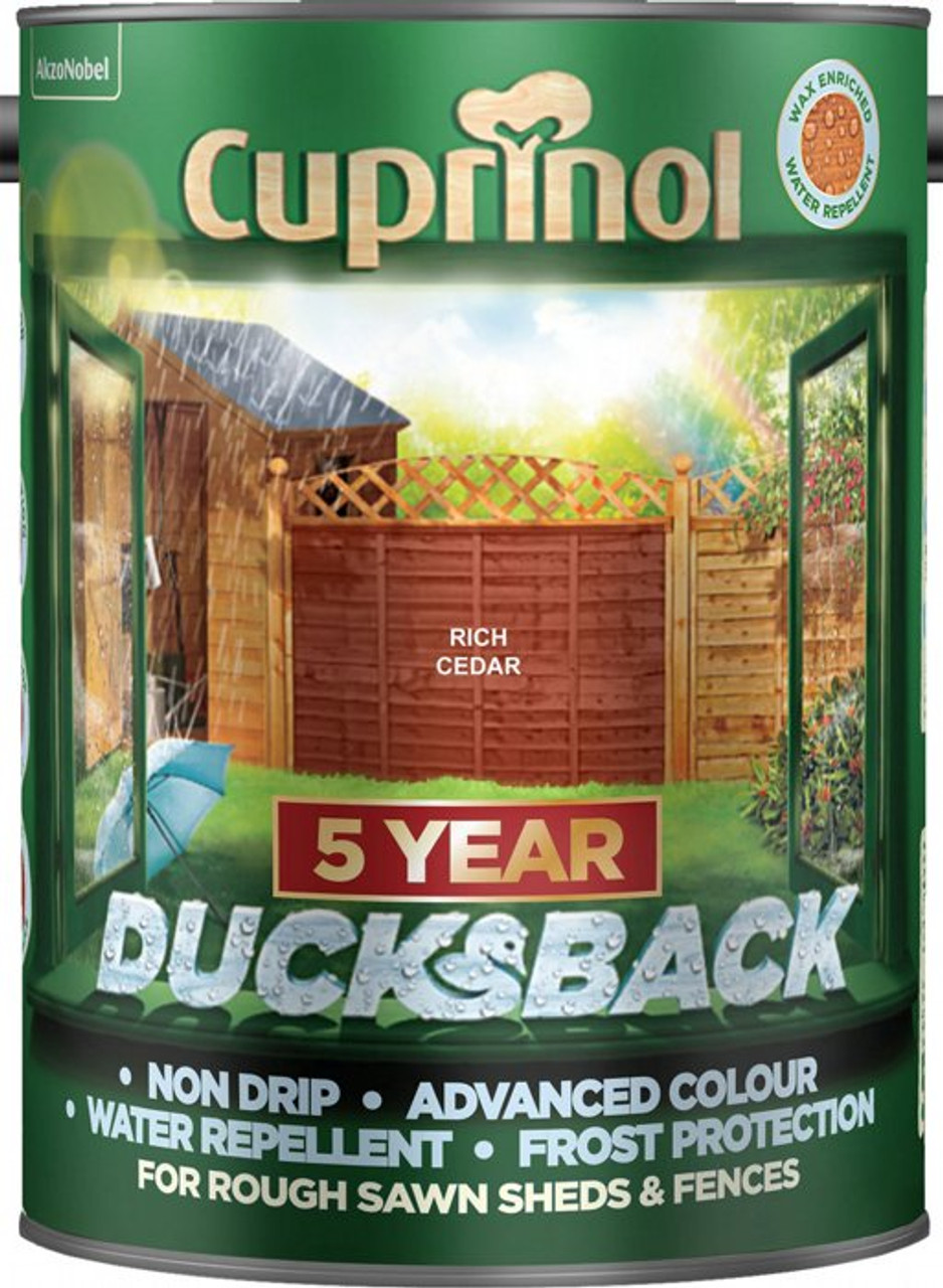 Cuprinol Ducksback 5L Rich Cedar - LOCAL DELIVERY ONLY
