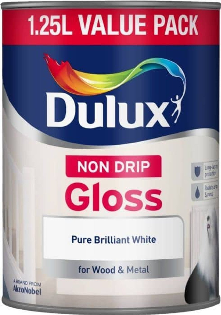 Dulux Non Drip 1.25Ltr Gloss Pure Brilliant White