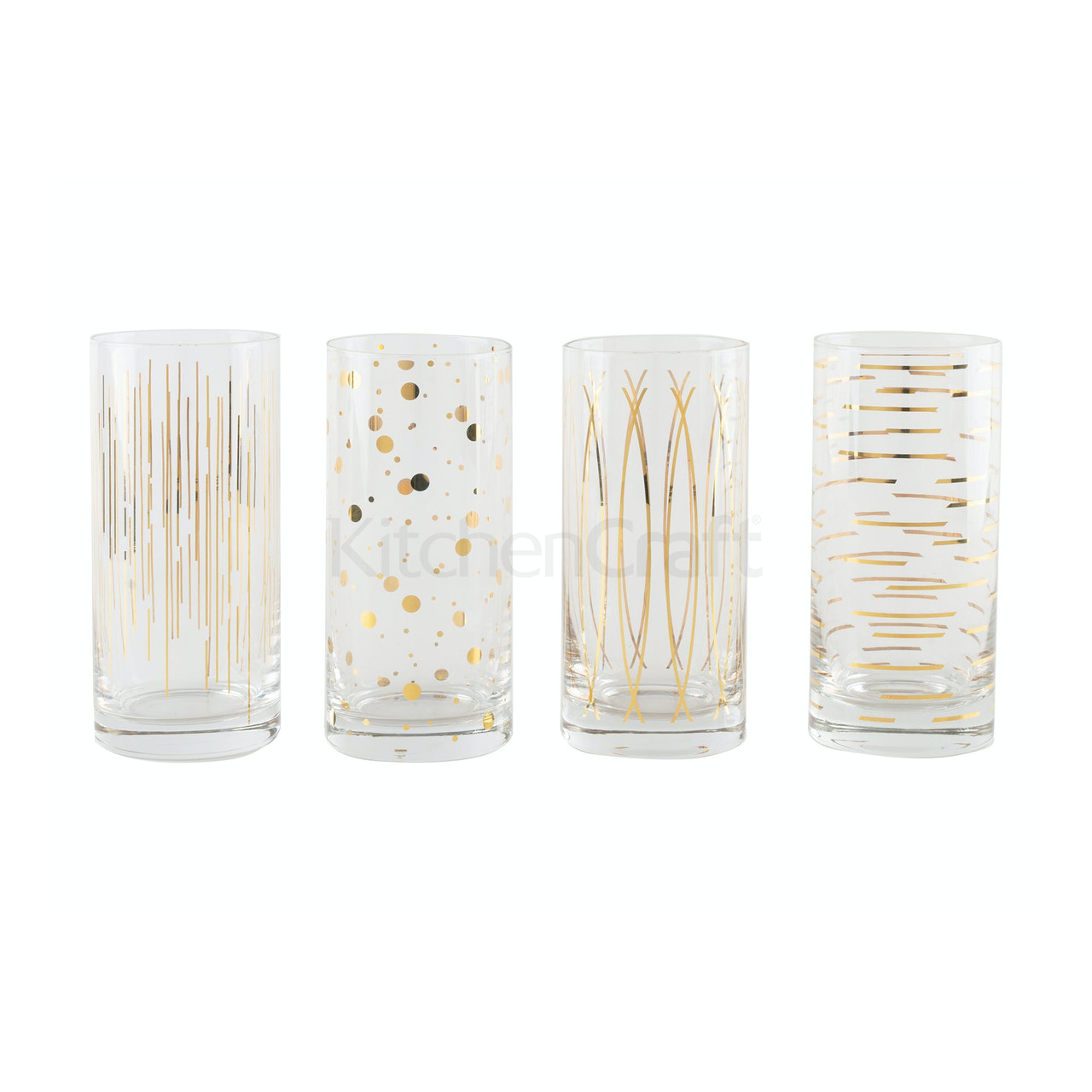 Mikasa Cheers Metallic Gold Set Of 4 16Oz High Ball Glasses (LOCAL DELIVERY ONLY)