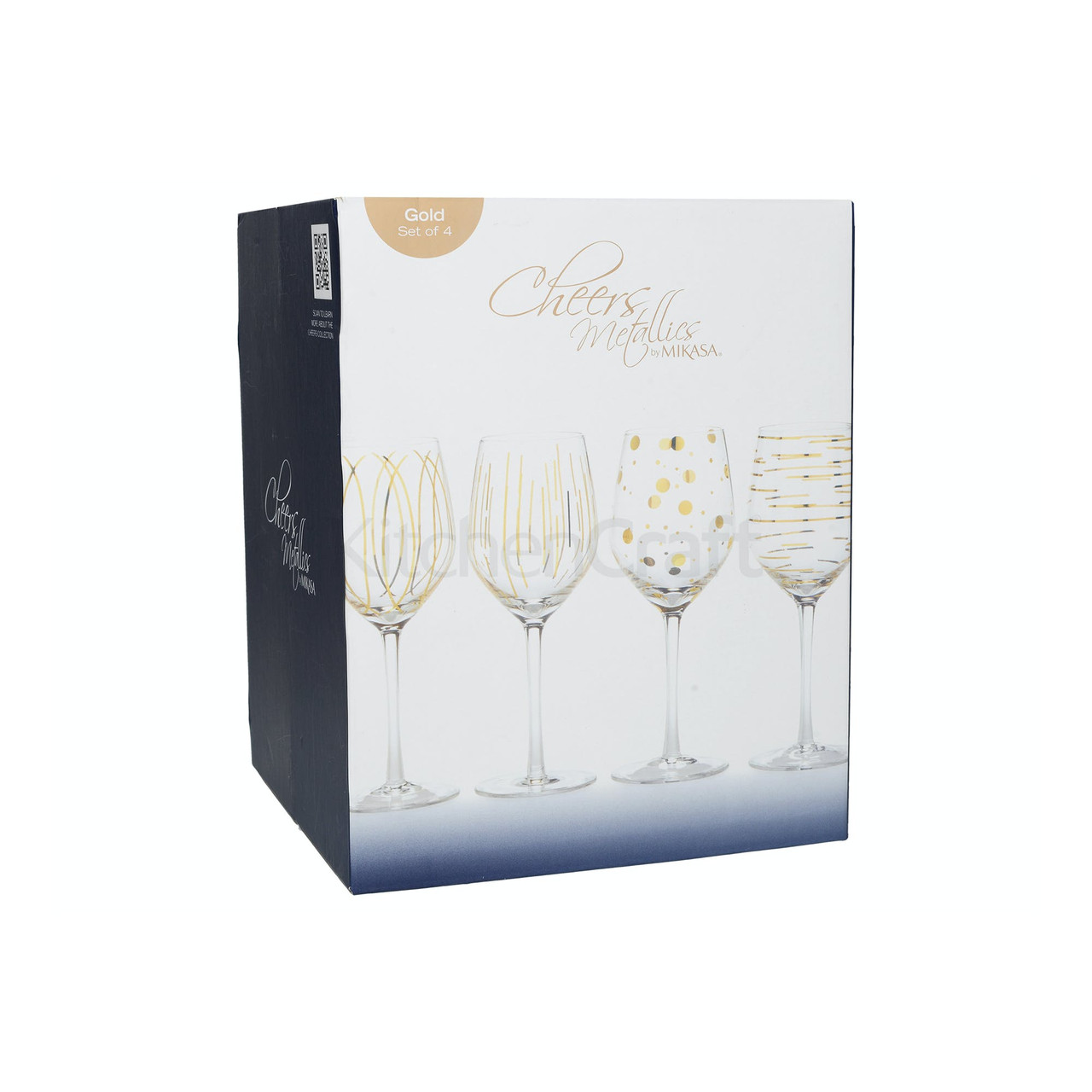 Mikasa Cheers Metallic Gold Set Of 4 14Oz Wine Glasses (LOCAL DELIVERY ONLY)