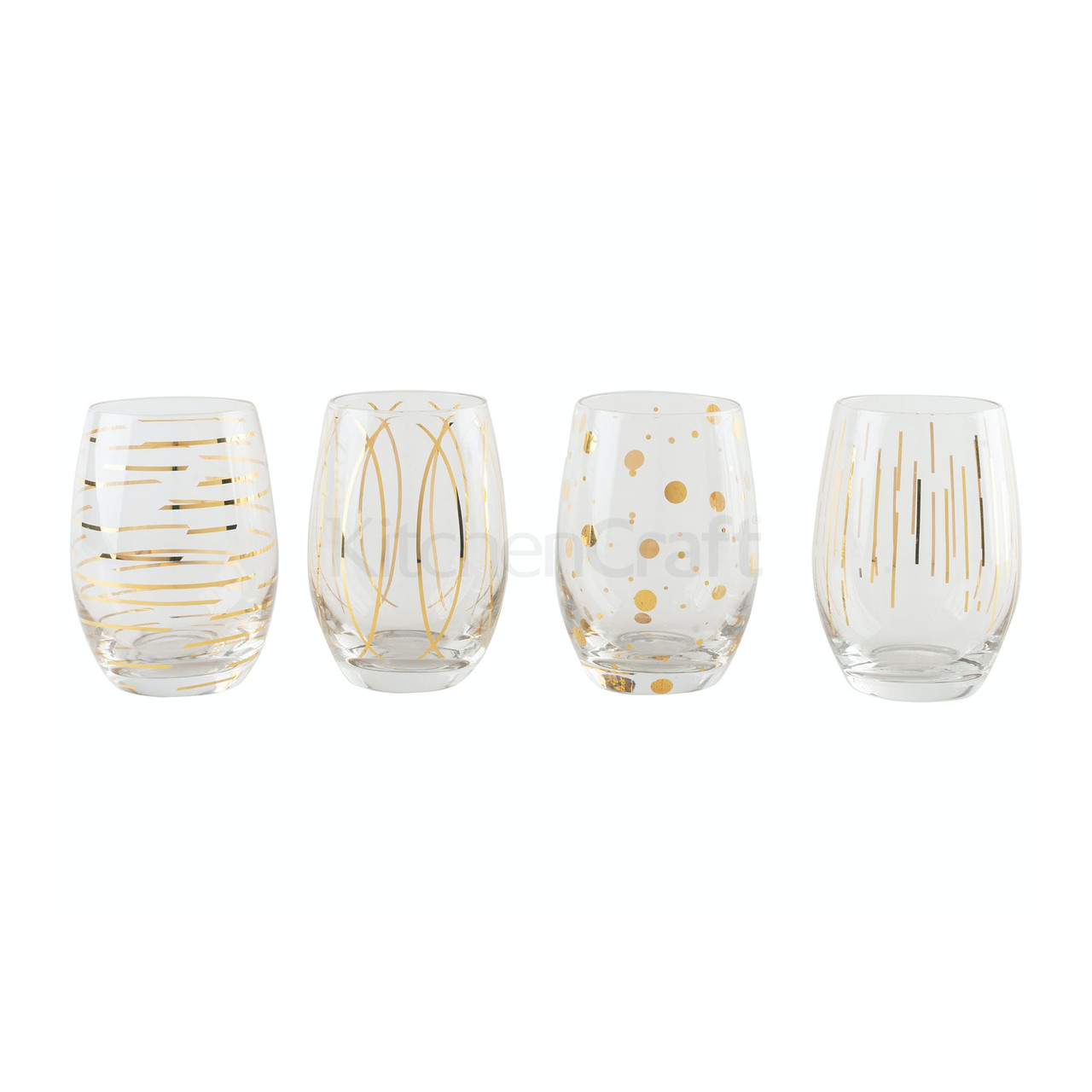 Mikasa Cheers Metallic Gold Set Of 4 Stemless 470 ml Wine Glasses (LOCAL DELIVERY ONLY)