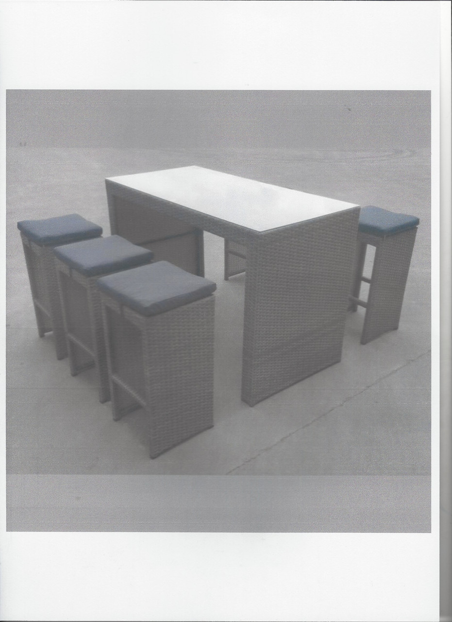 Steel Rattan 7 Piece Bar Set with Glass Table Top  -LOCAL DELIVERY ONLY