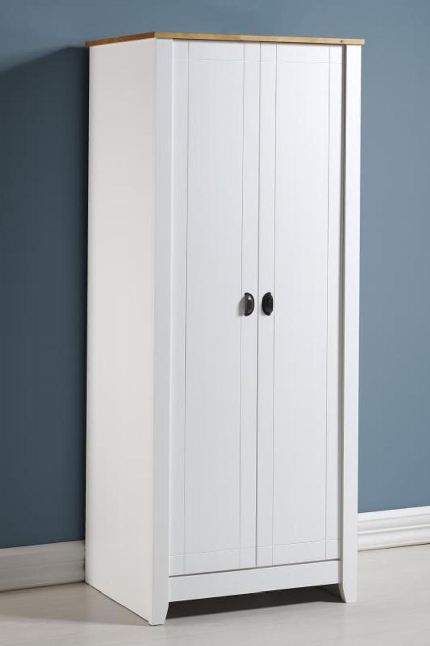 Ludlow 2 Door Wardrobe in White/Oak Lacquer