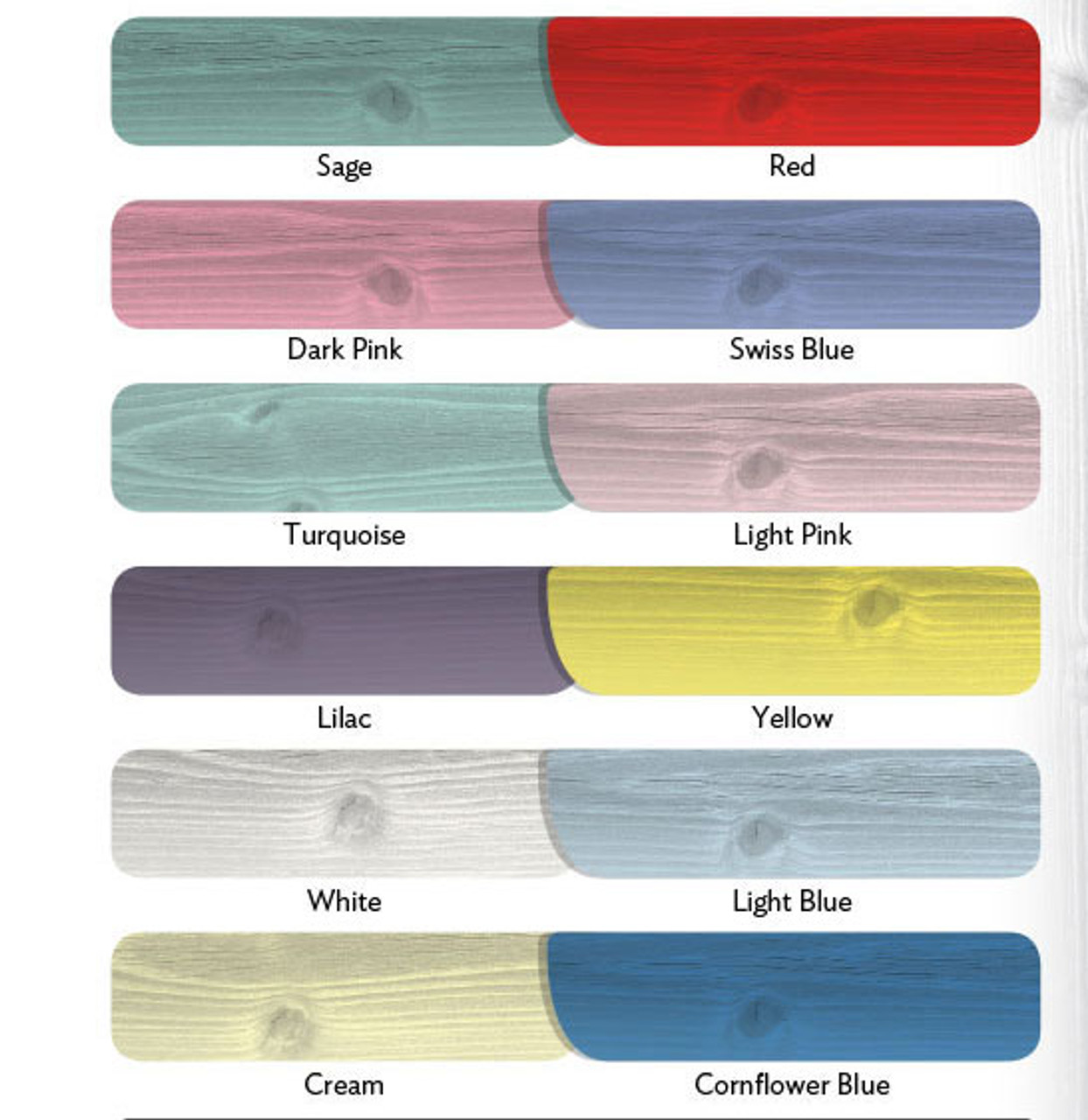 All Kennels & Storage can be painted in any of these colours at an extra charge