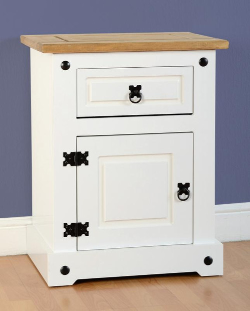 Corona Bedside Cabinet White