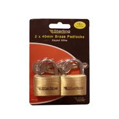 Sterling 2 x 40mm Brass Padlocks