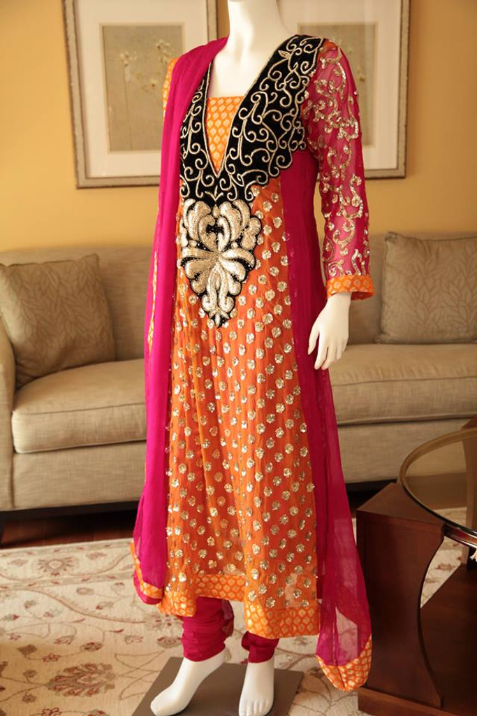 Orange and Pink Embroidered Dress