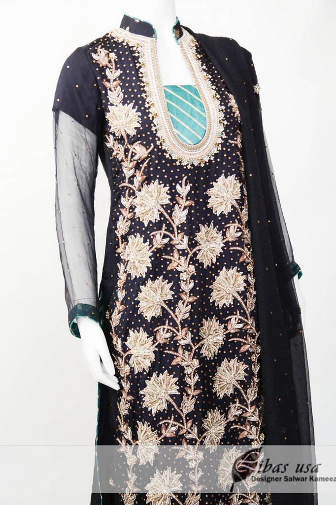Dark Blue and green fancy dress with dhaka pajama