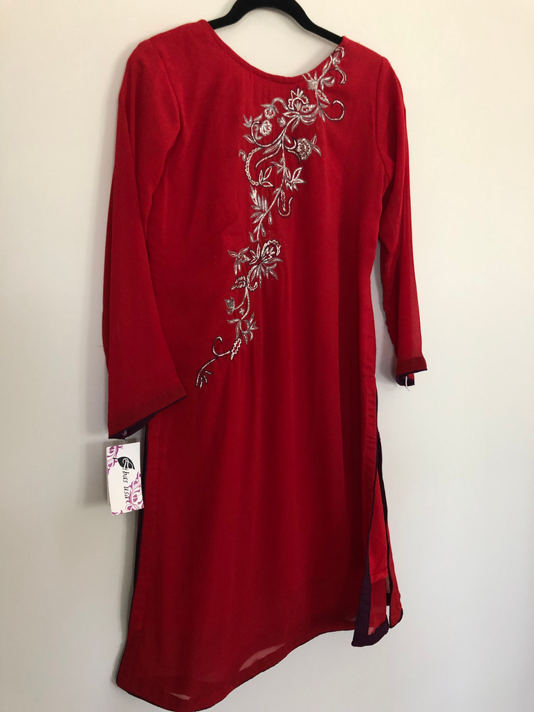 Red Embroidered Dress with Purple
