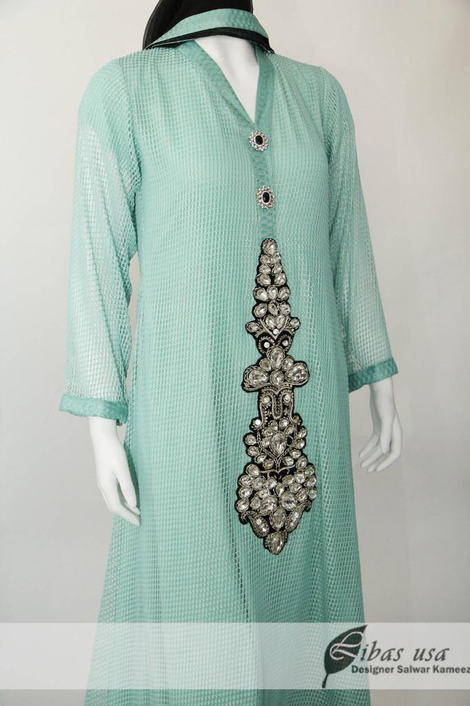 Sea Green Net Dress with Motif