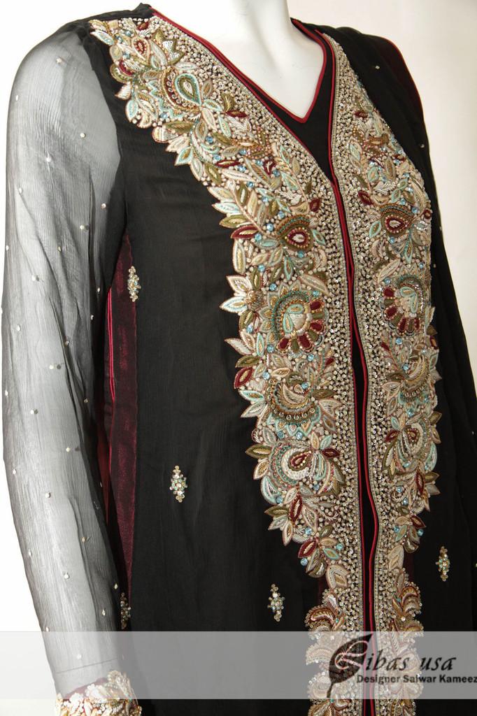 Black Heavy Coat Dress with Multi Panel Frock