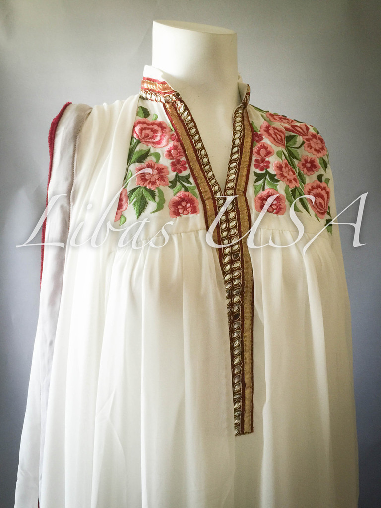 White Chiffon suit with embroidery