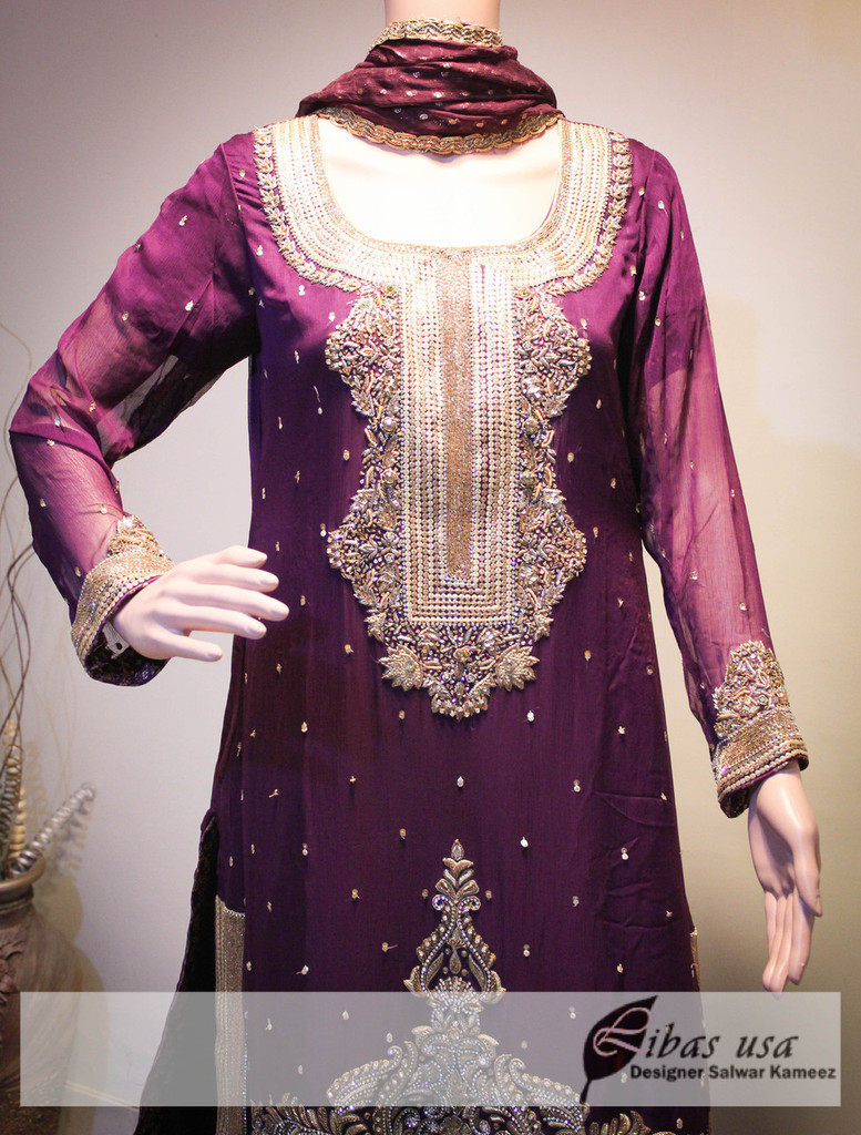 Purple and golden heavy embroidered dress