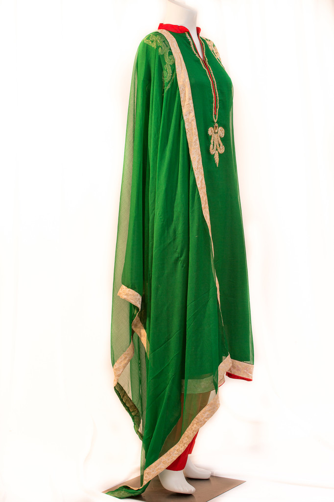 Green and red straight pant outfit with back embroidery