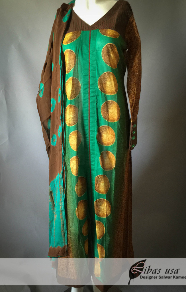 Brown and green lawn suit