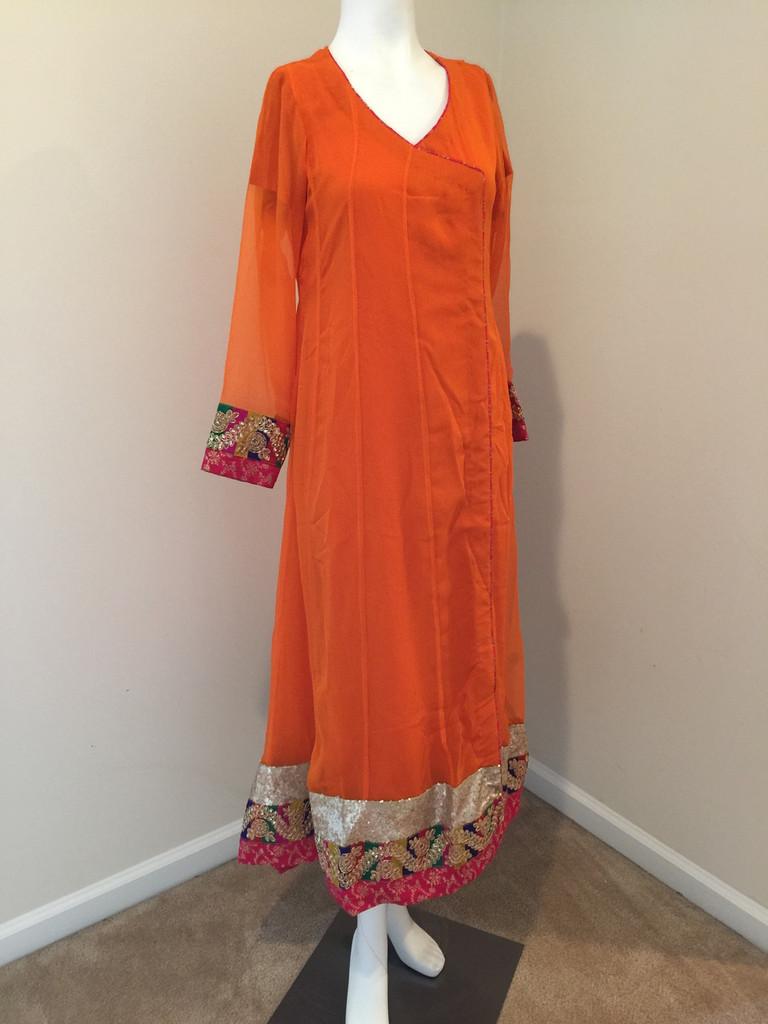 Orange Angrakha Style Dress