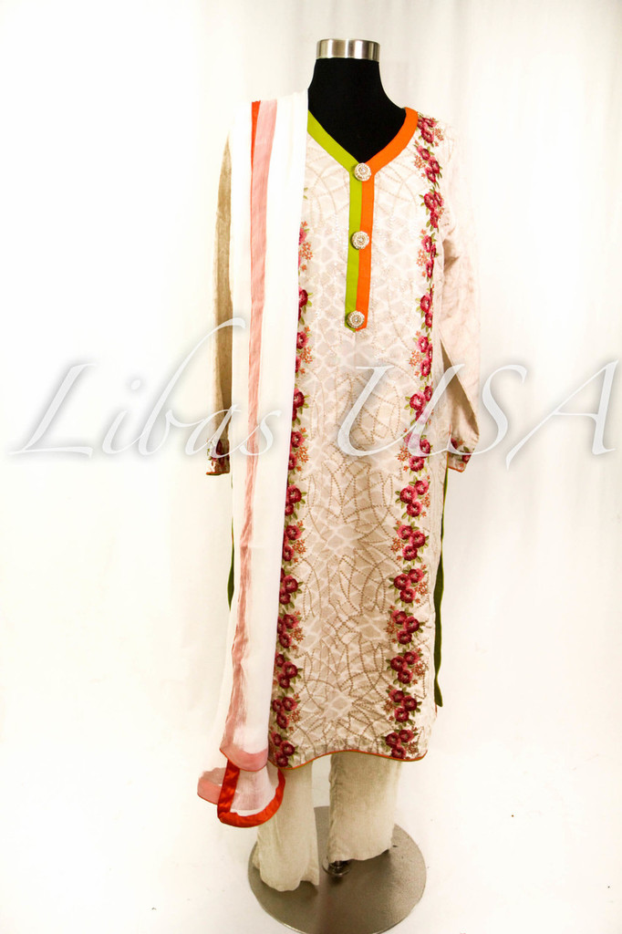 Embroidered and self print fancy top with chiffon duputta and pant
