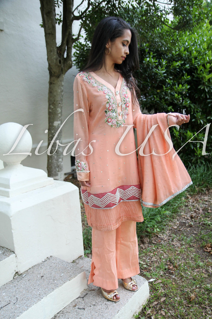 Luxury Eid Collection Embroidered Peach
