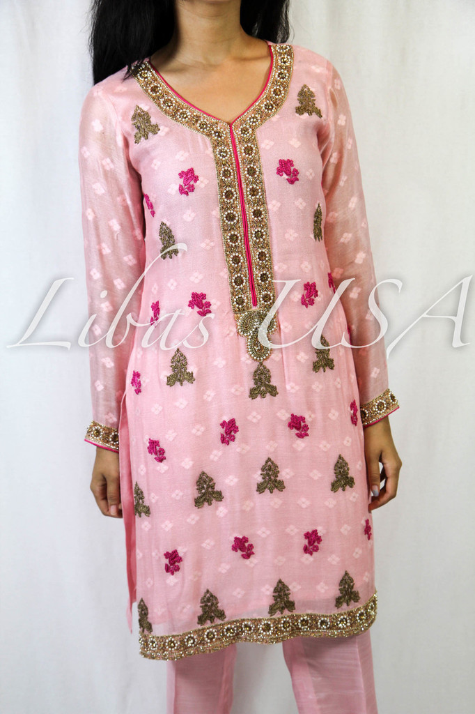 Light Pink Embroidered Suit