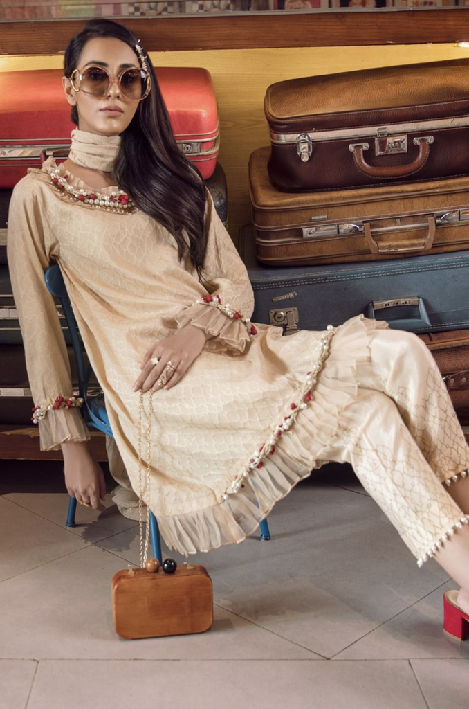 Ancestral Gold 3 pc embroidered suit