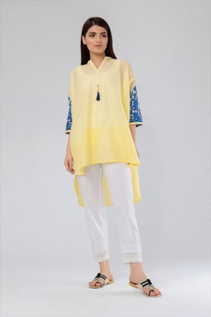 Khaadi yellow printed top oversized