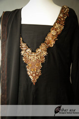 Black Dress with Copper work