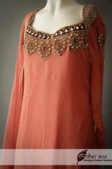 Peach Chiffon Dress with Red Stones
