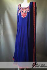 Blue and Pink Anarkali Style Dress
